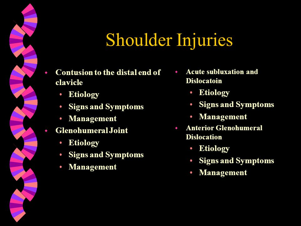Shoulder Injuries Contusion to the distal end of clavicle Etiology