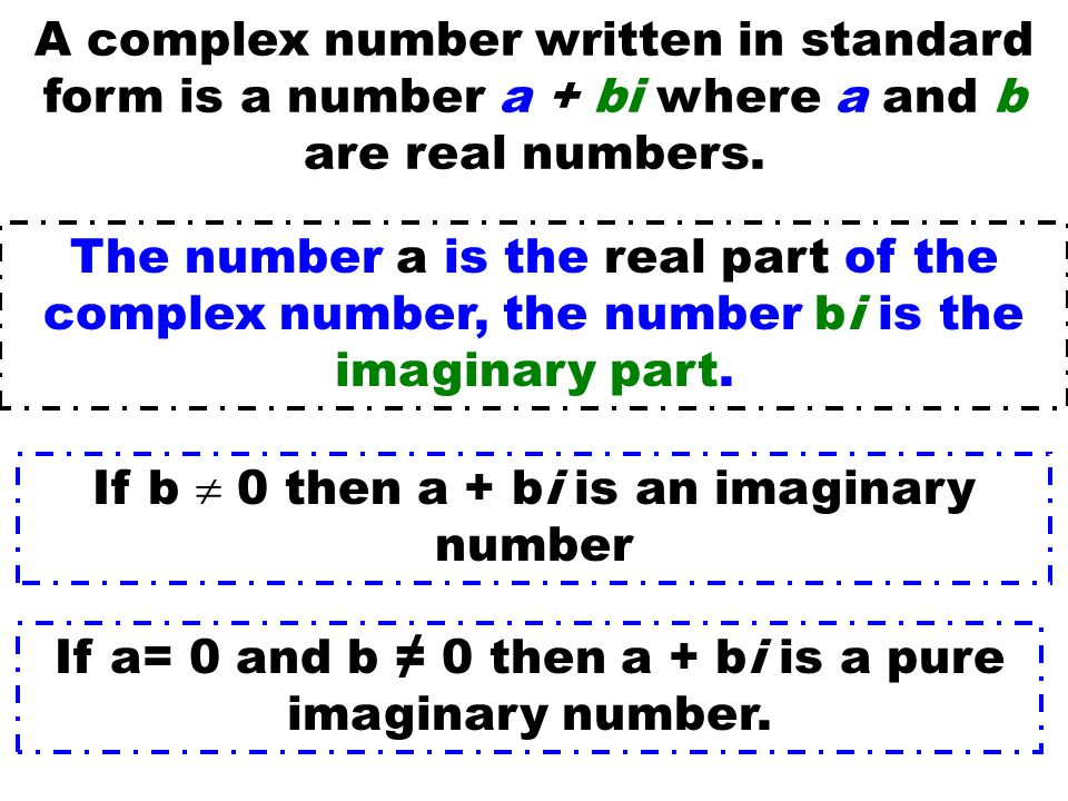 If b  0 then a + bi is an imaginary number