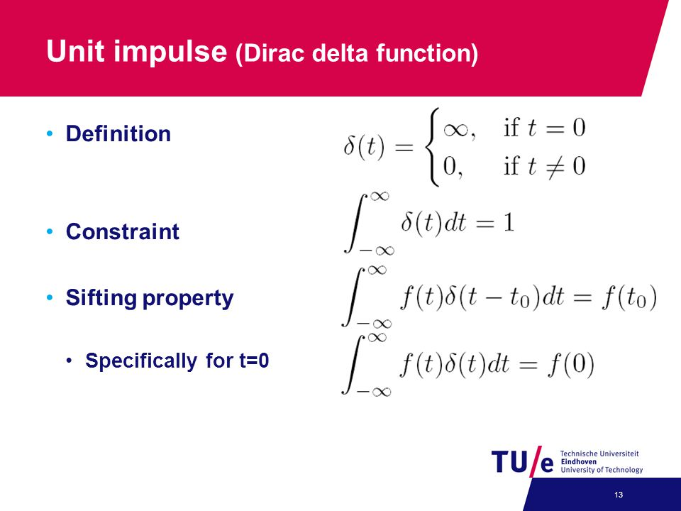 Unit impulse (Dirac delta function)