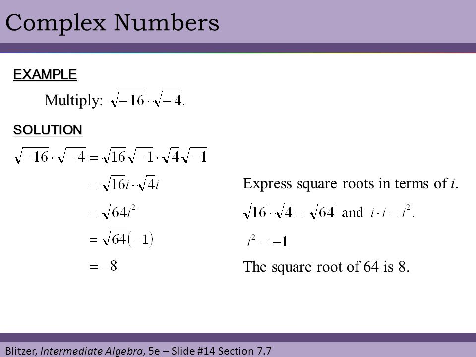 Complex Numbers Multiply: Express square roots in terms of i.