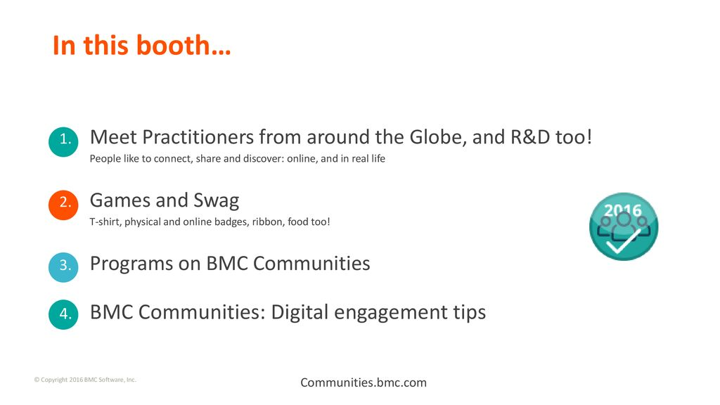 BMC Communities What happens in this booth? Communities bmc com