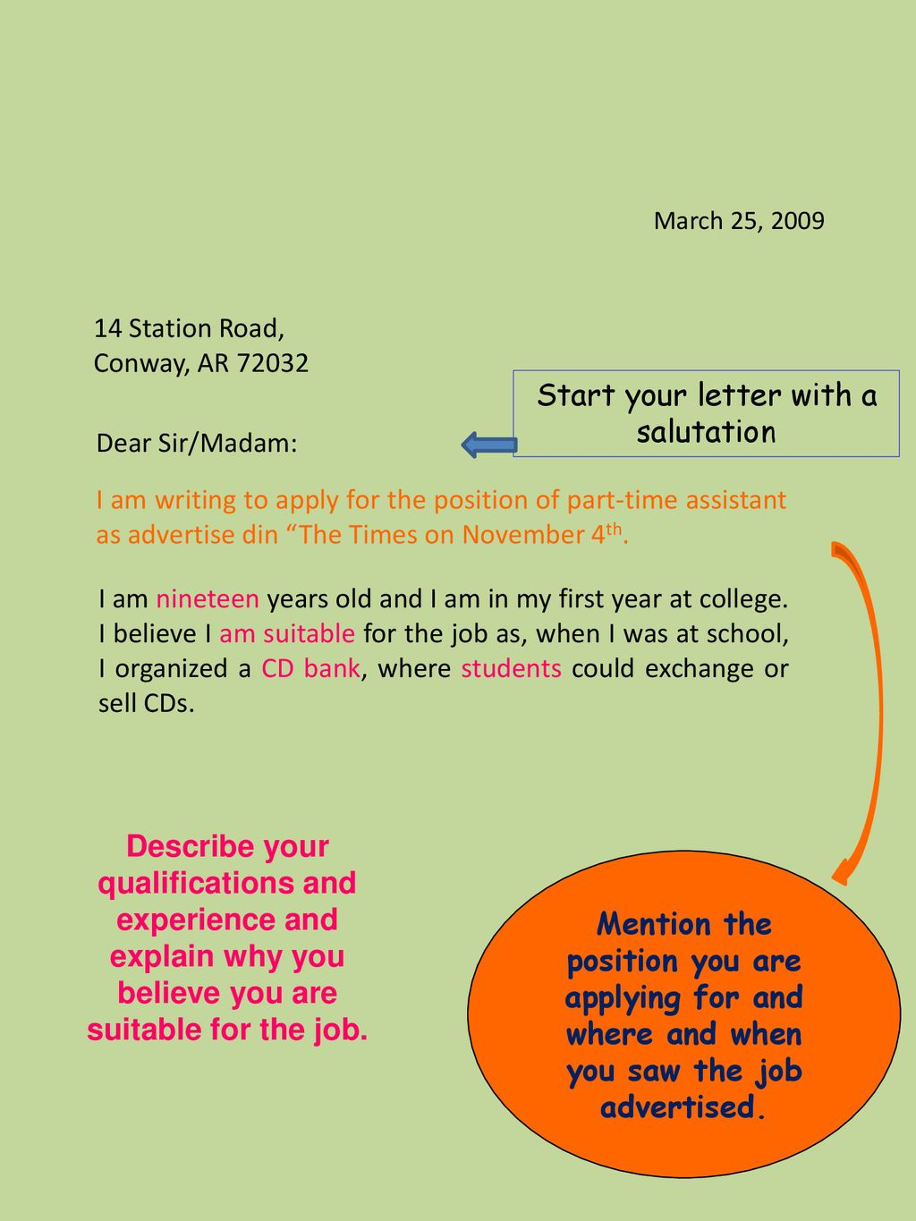 Writing A Letter Of Application Ppt Download