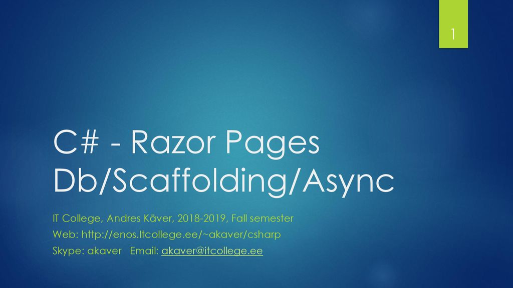 C# - Razor Pages Db/Scaffolding/Async - ppt download