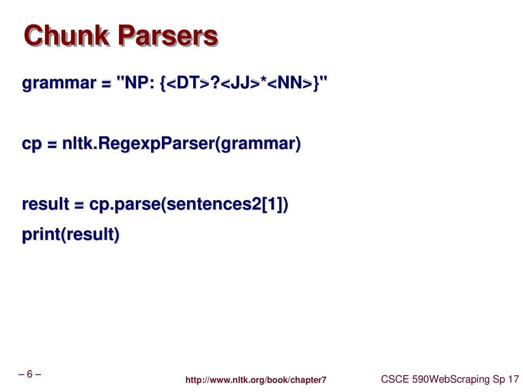 CSCE 590 Web Scraping – NLTK IE - ppt download