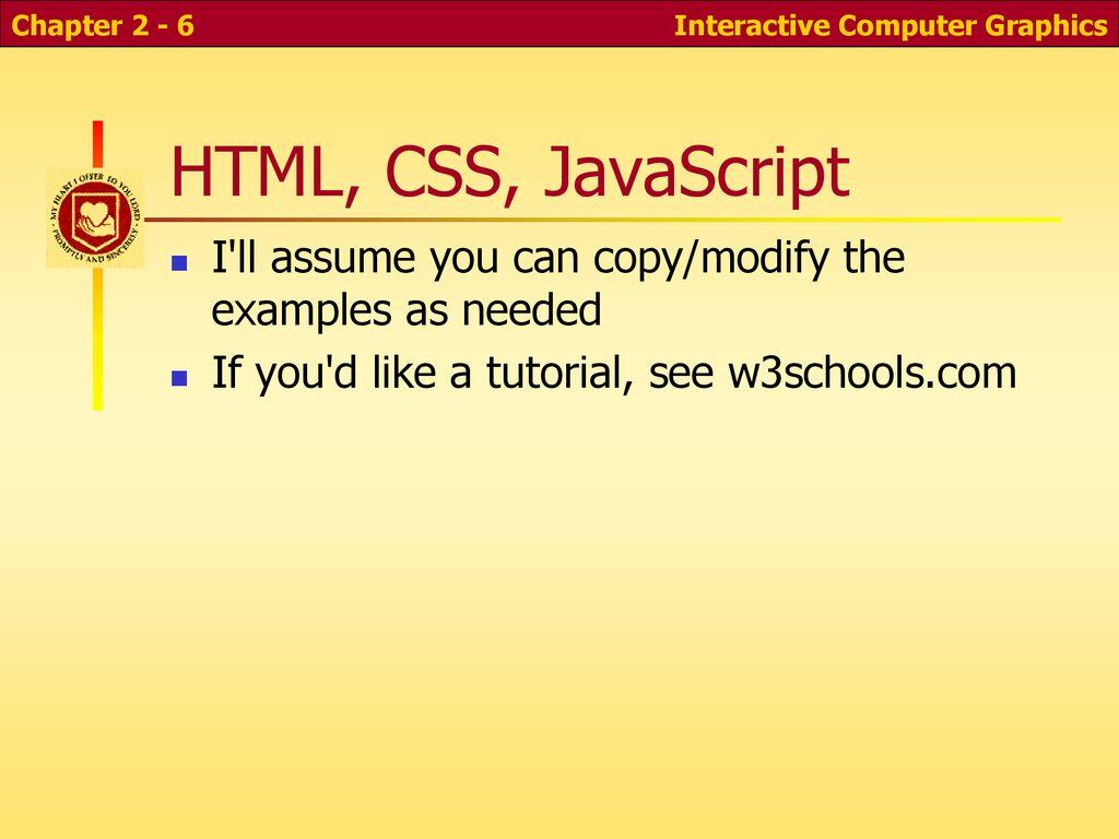 CS 352: Computer Graphics Graphics Programming and HTML Canvas