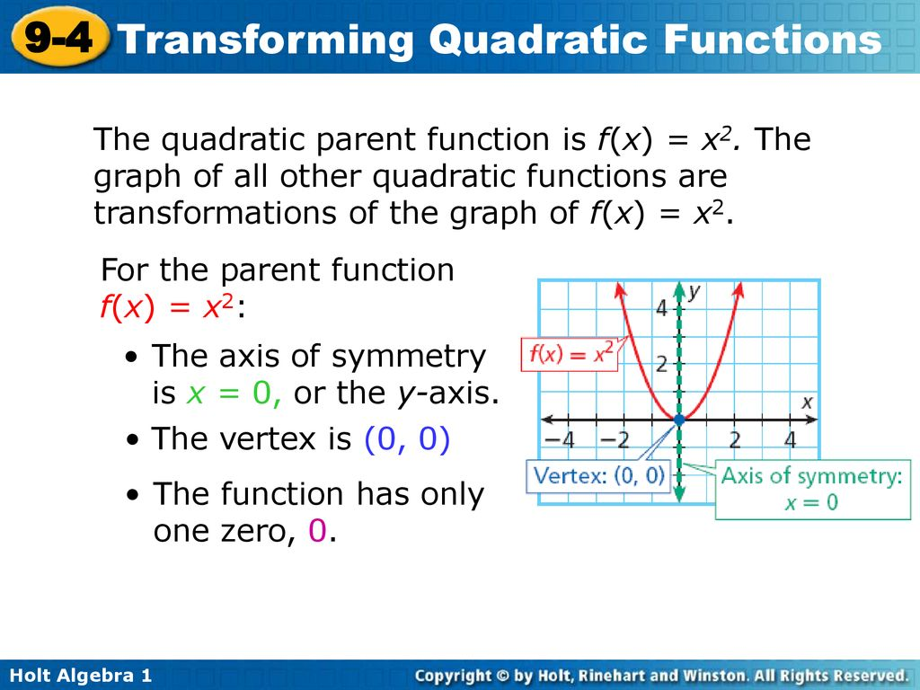Warm Up For Each Quadratic Function Find The Axis Of Symmetry And Vertex And State Whether The Function Opens Upward Or Downward 1 Y X Y Ppt Download