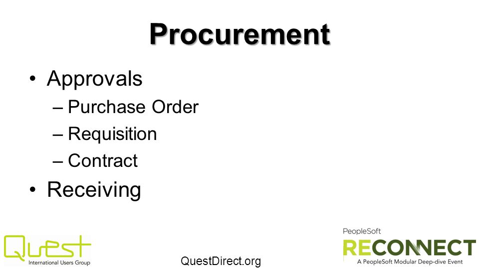 Procurement Approvals Purchase Order Requisition Contract Receiving