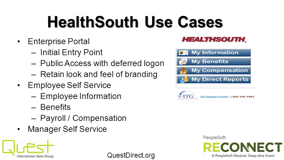 HealthSouth Use Cases Enterprise Portal Initial Entry Point