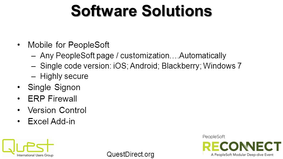 Software Solutions Mobile for PeopleSoft Single Signon ERP Firewall