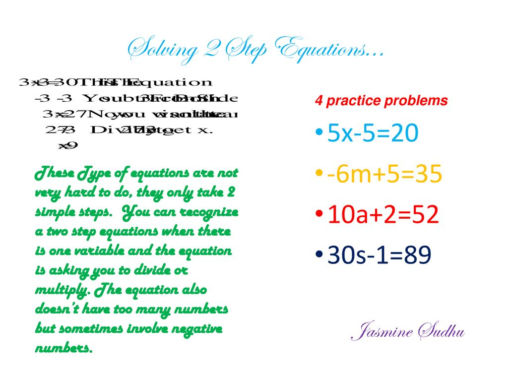 Solving equations with multi step  - ppt download