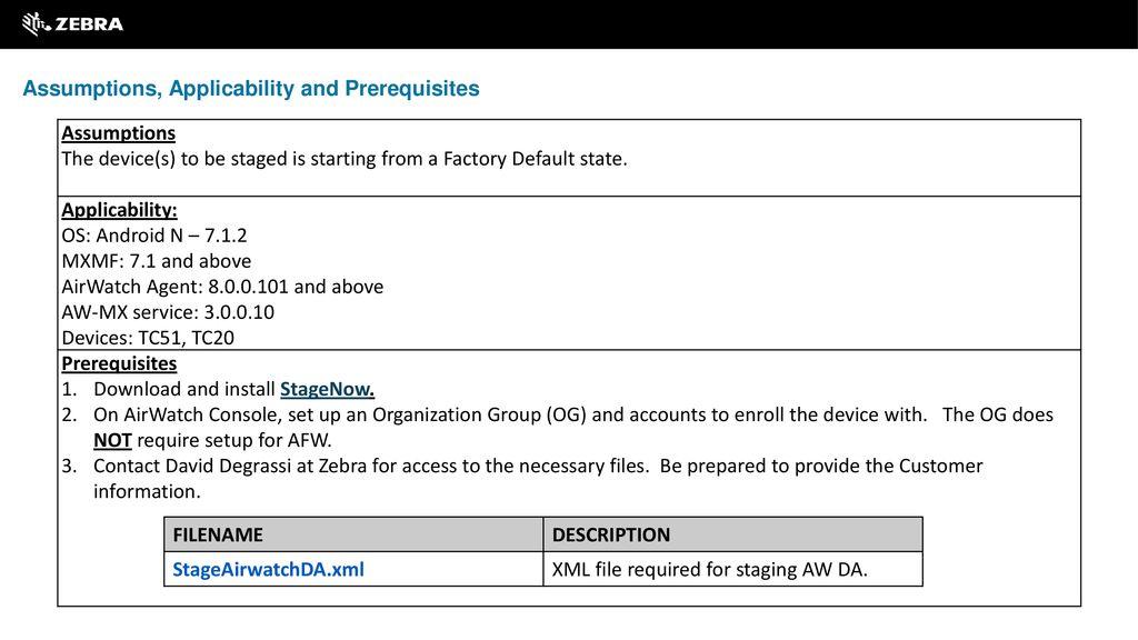 StageNow Workstation AirWatch Device Administrator
