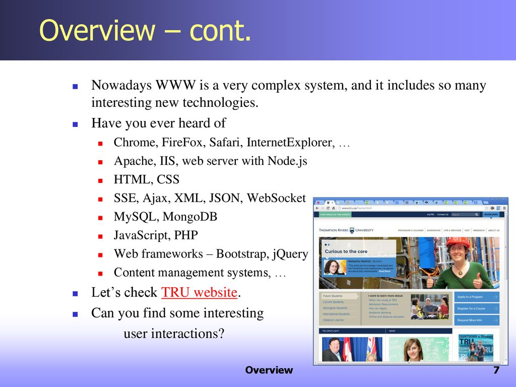 Web Technologies Computing Science Thompson Rivers University - ppt
