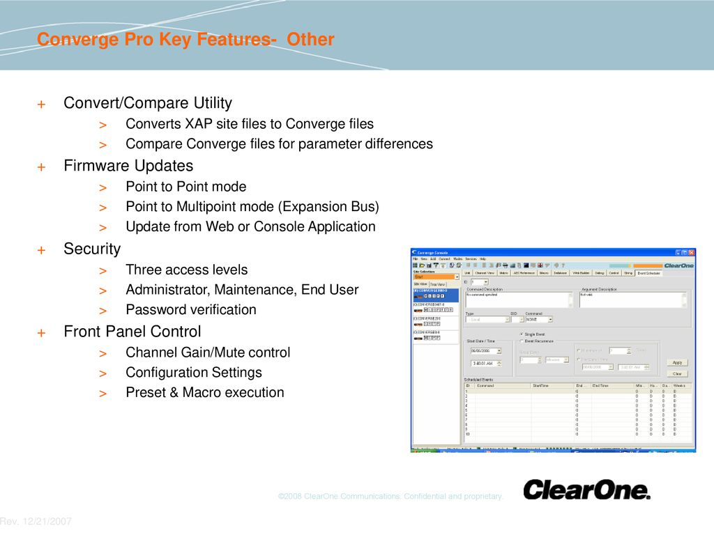 Converge Pro ClearOne Due Diligence findings and other