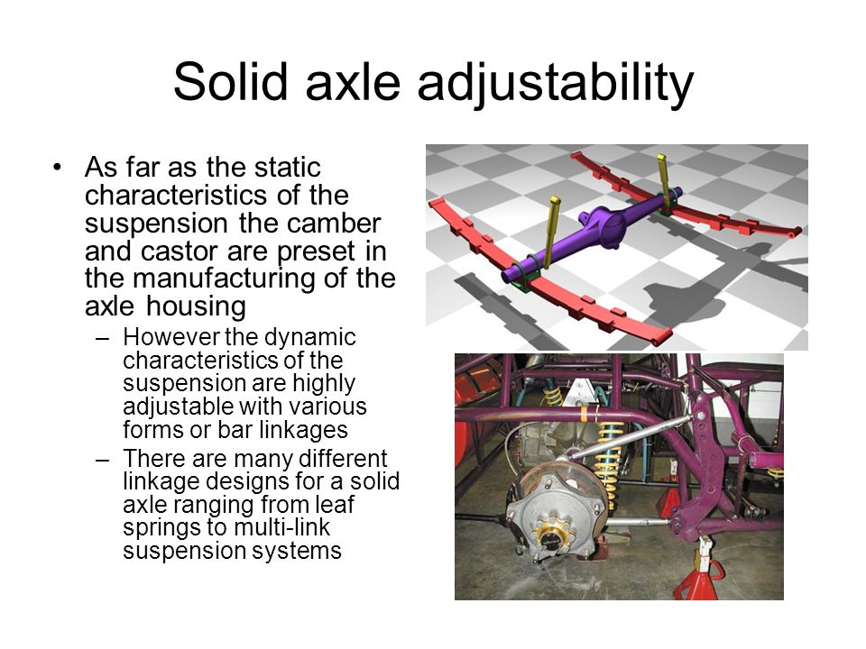 Solid axle adjustability