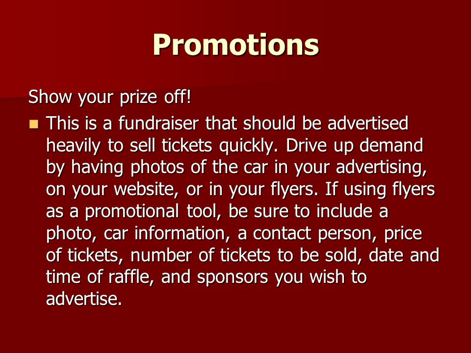 Organizing a Car Raffle - ppt video online download