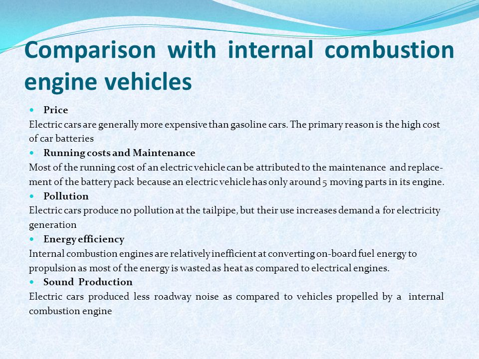 Comparison With Internal Combustion Engine Vehicles