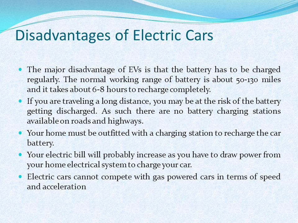 Disadvantages Of Electric Cars