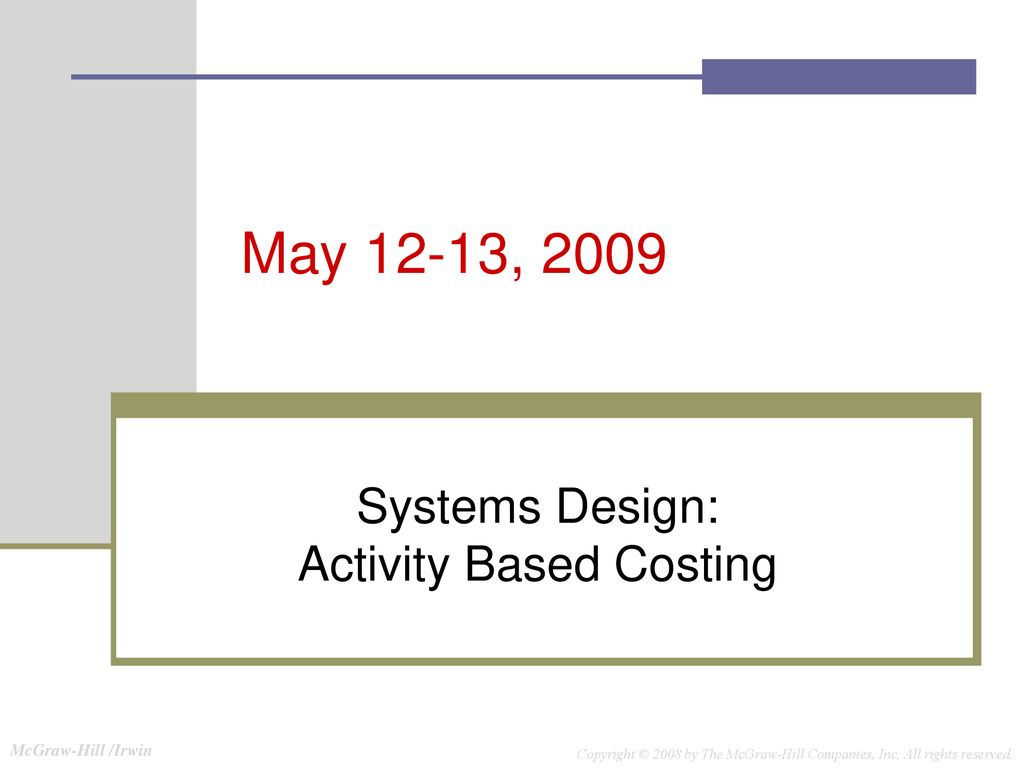 Systems Design Activity Based Costing Ppt Download