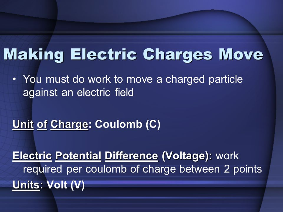 Making Electric Charges Move