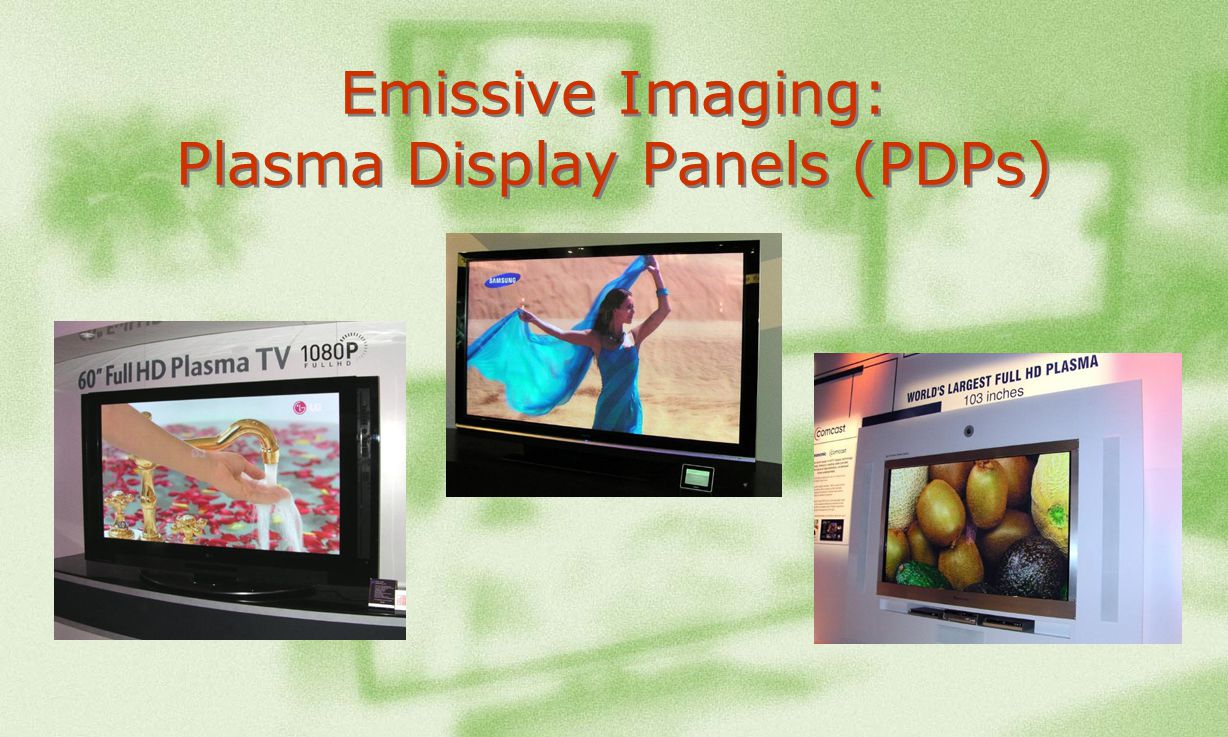 See It Now A Primer On Lcd Dlp Lcos And Plasma Technologies 2005 Lg 50 Inch Tv Screen Circuit Boards In Back Of 15 Emissive Imaging Display Panels Pdps