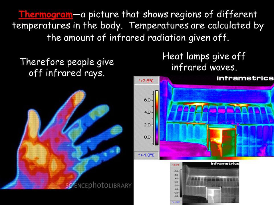 Heat lamps give off infrared waves.
