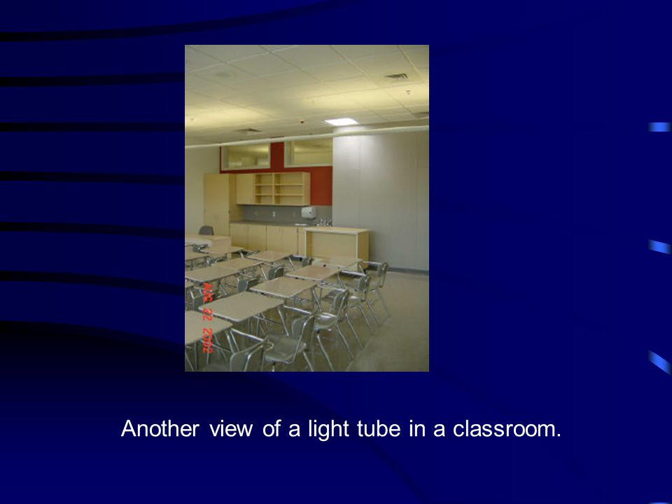 Another view of a light tube in a classroom.