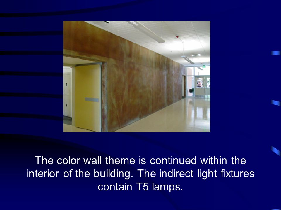 The color wall theme is continued within the interior of the building