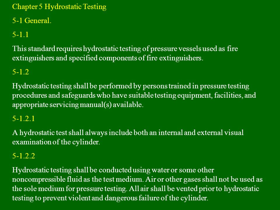 Chapter 5 Hydrostatic Testing