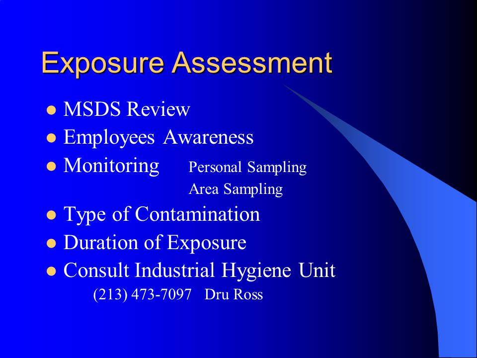 Exposure Assessment MSDS Review Employees Awareness