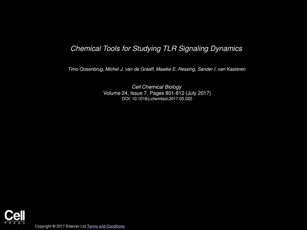 Chemical Tools For Studying Tlr Signaling Dynamics Ppt