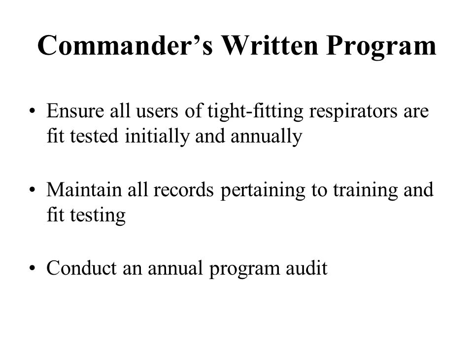 Commander's Written Program