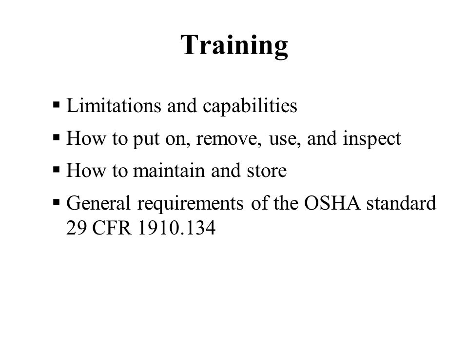 Training Limitations and capabilities
