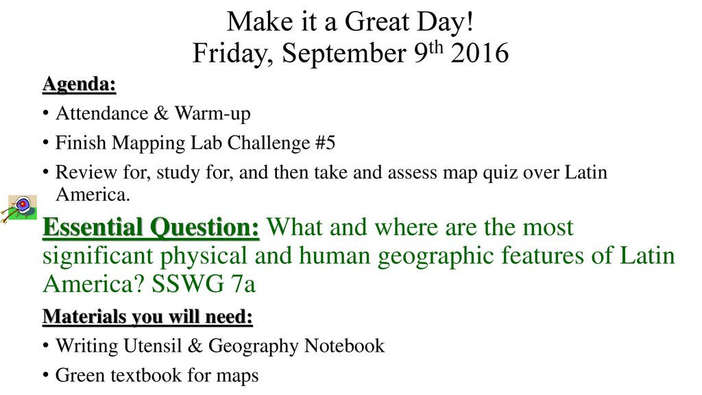 Make it a Great Day! Friday, September 9th ppt download