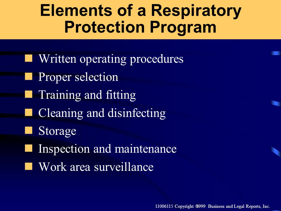 Elements of a Respiratory Protection Program