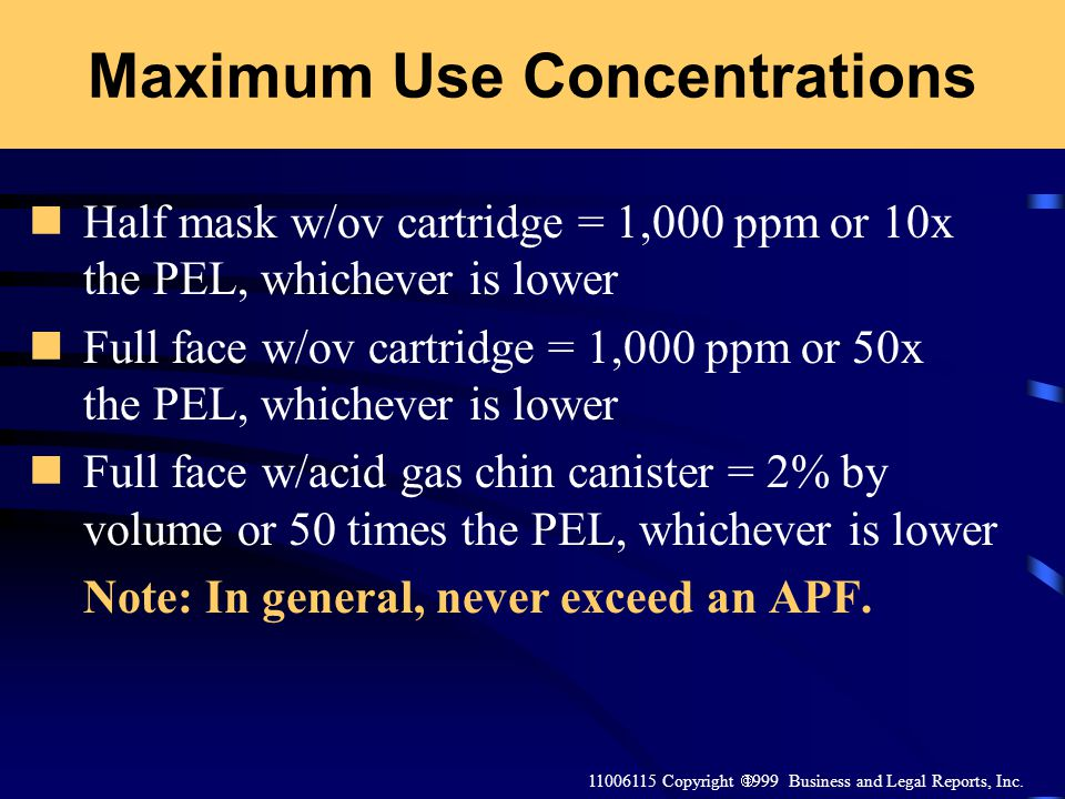 Maximum Use Concentrations