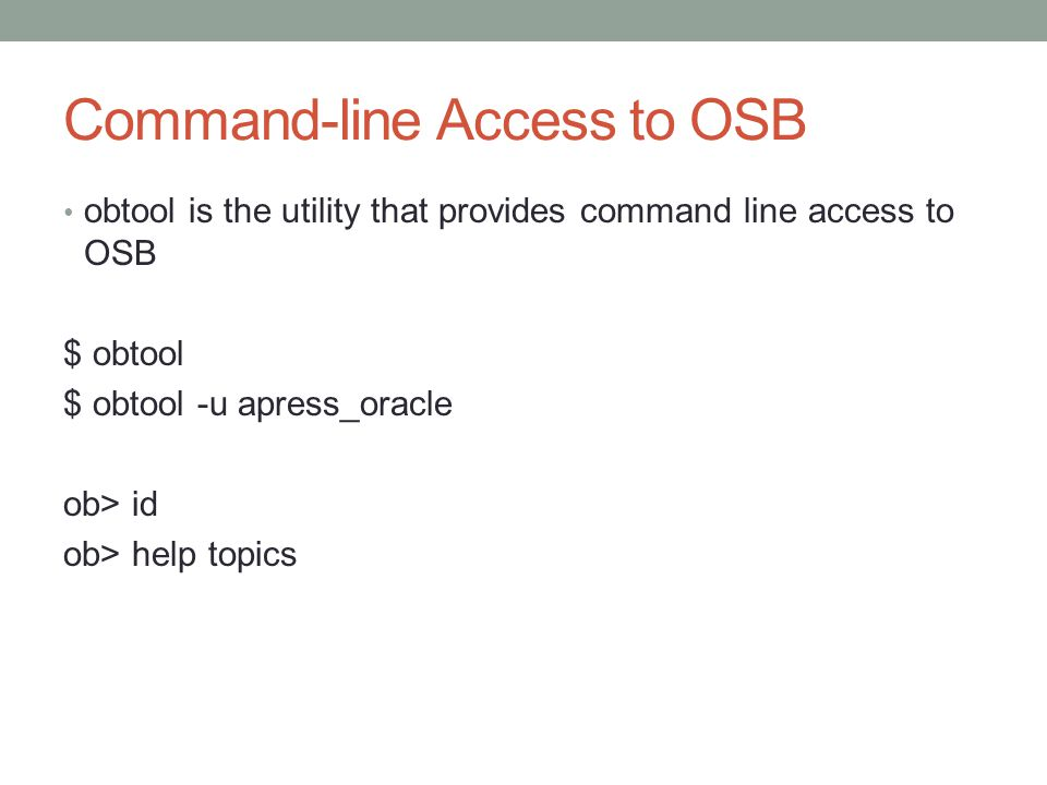 Command-line Access to OSB