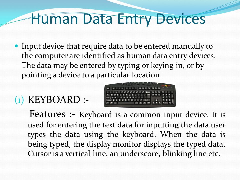 Human Data Entry Devices