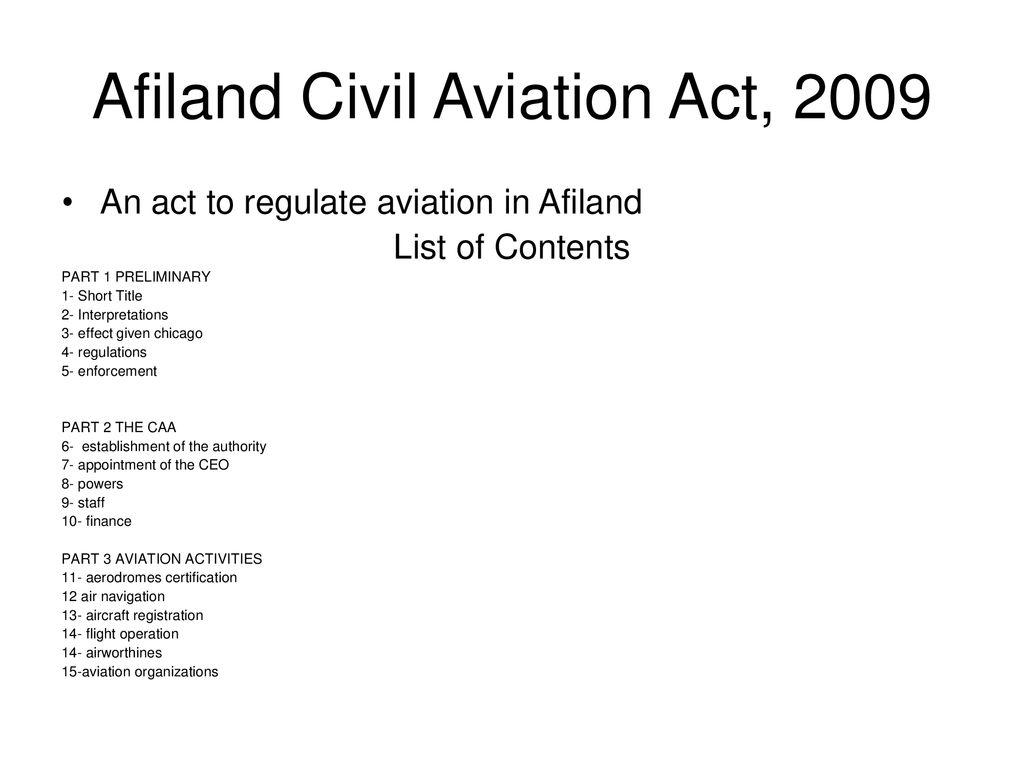 AFILAND AVIATION REFORM PROJECT, ppt download