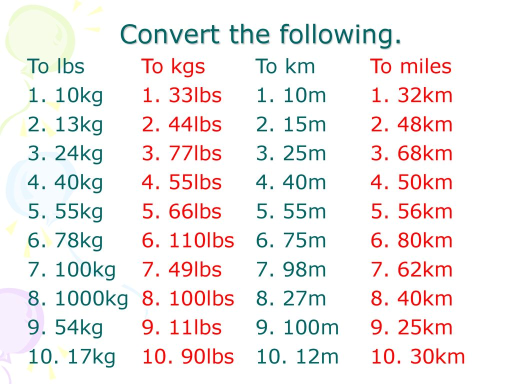 To 10 lbs kg