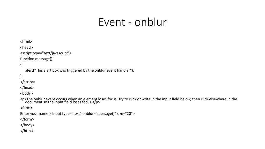JavaScript and Ajax (JavaScript Events) - ppt download