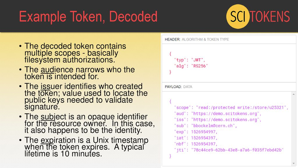 The SciTokens Authorization Model: JSON Web Tokens & OAuth