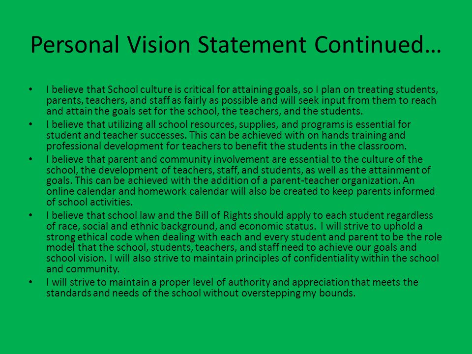 personal vision statements for principals