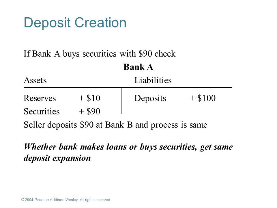 Deposit Creation If Bank A buys securities with $90 check Bank A