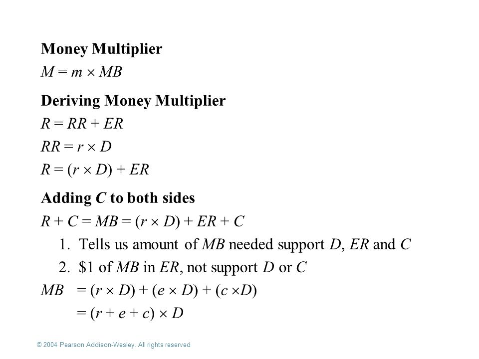 Deriving Money Multiplier R = RR + ER RR = r  D R = (r  D) + ER