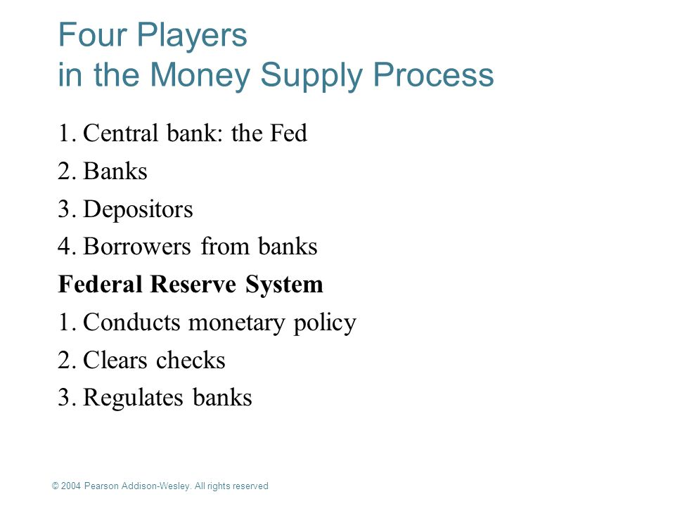 Four Players in the Money Supply Process