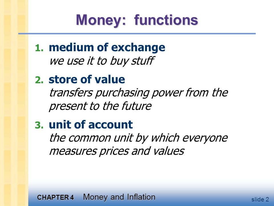 inflation and functions of money essay Printing money - synonym for monetizing money quantity theory of money - the theory that velocity of money - the rate of turnover of money the average number of times per year that a marginal propensity to consume - the slope of the consumption function line that measures the.