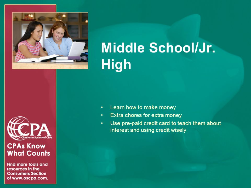 Middle School/Jr. High Learn how to make money