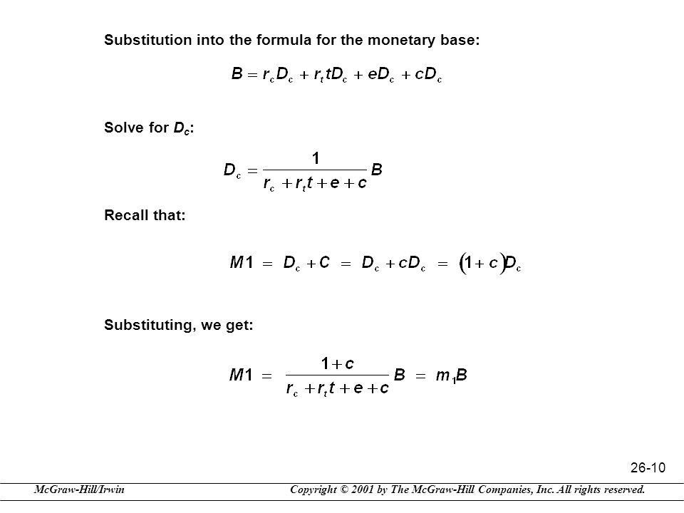 Substitution into the formula for the monetary base: