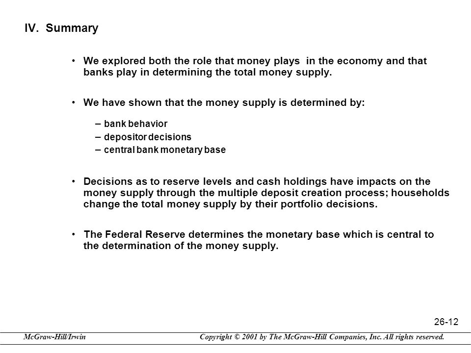 IV. Summary We explored both the role that money plays in the economy and that banks play in determining the total money supply.