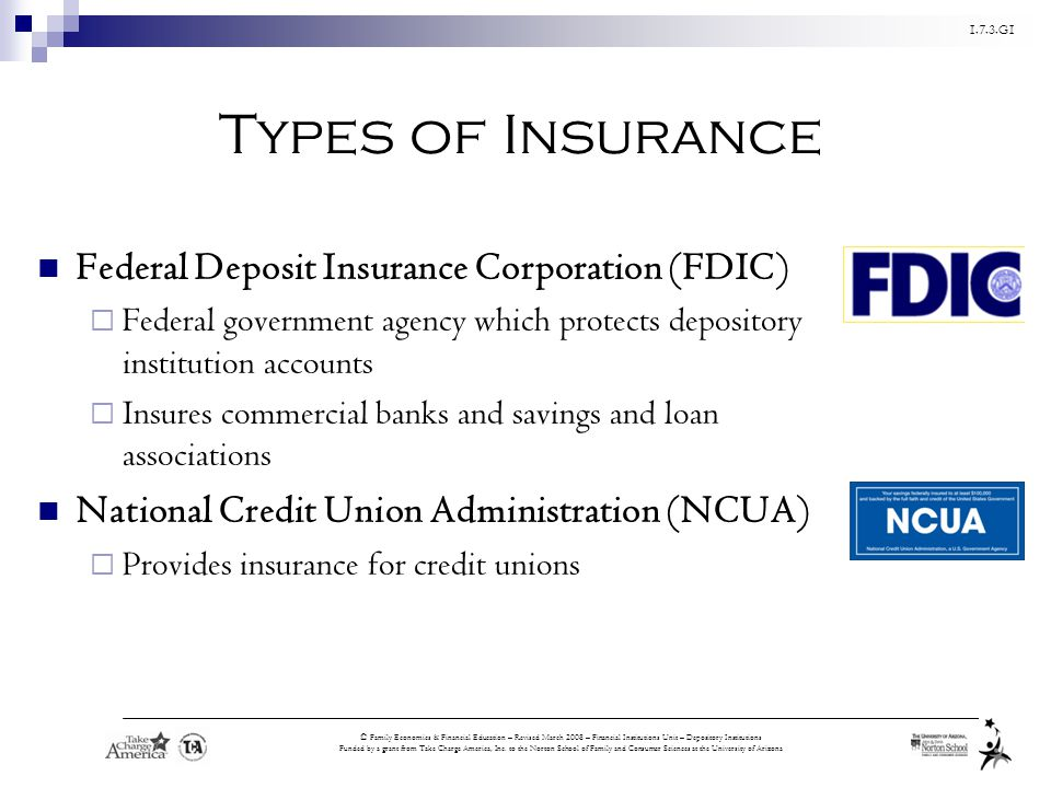 Types of Insurance Federal Deposit Insurance Corporation (FDIC)